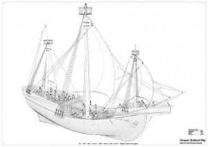 Newport Medieval Ship drawing